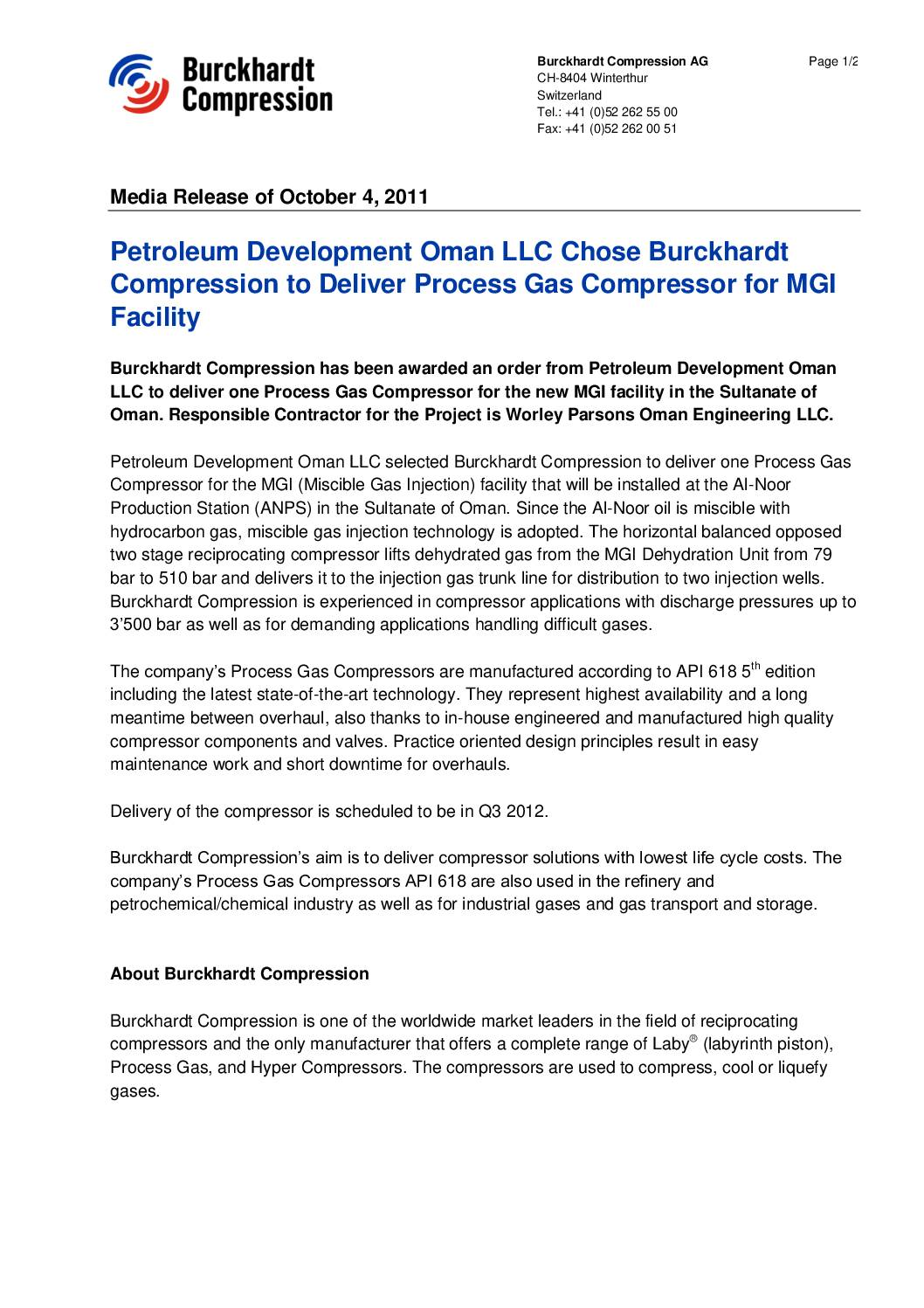 Petroleum Development Oman LLC Chose Burckhardt Compression