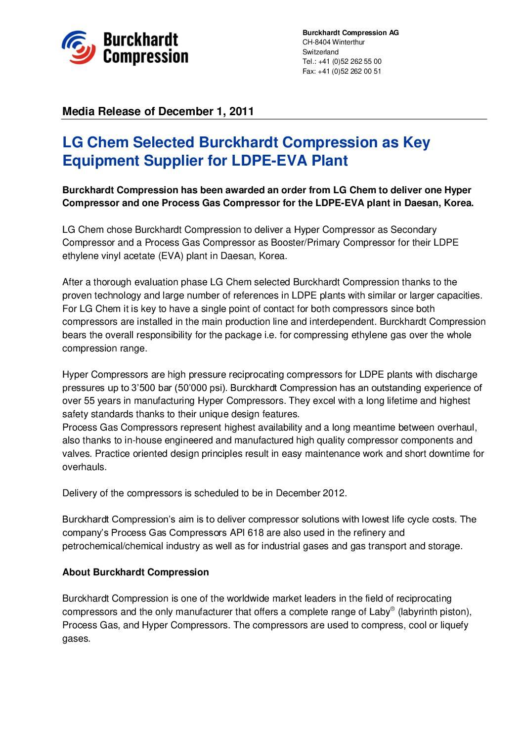 LG Chem Selected Burckhardt Compression as Key Equipment Supplier