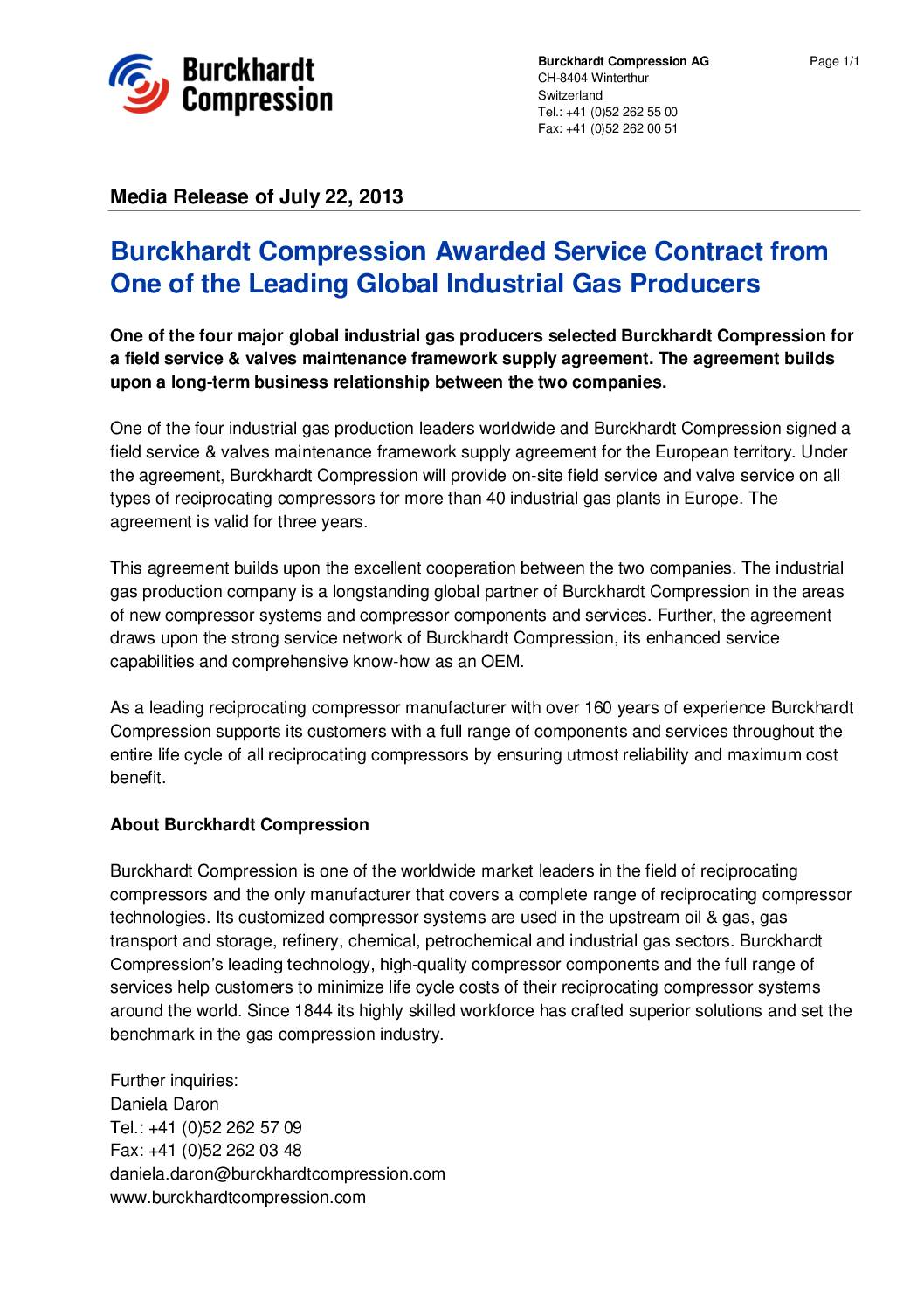 Burckhardt compression awarded service contract from one of the 130722mediareleaseserviceagreement platinumwayz
