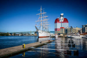Wide Angle View of Colorful Harbor in Gothenburg, Sweden